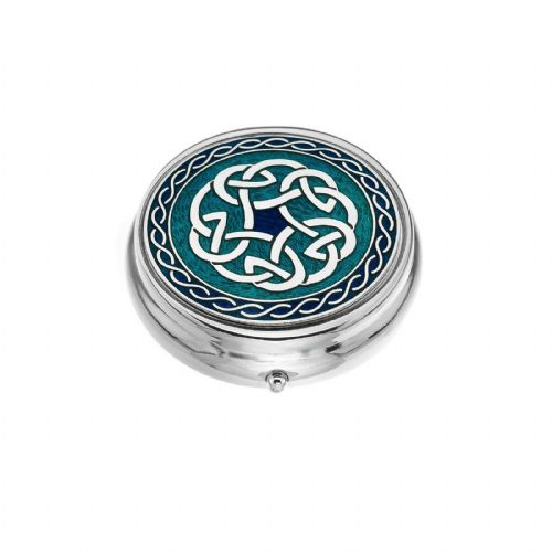 Large Pill Box Silver Plated Celtic Knot Blue Brand New & Boxed